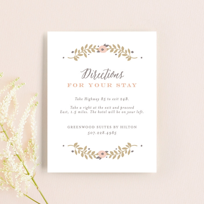 """""""Lover's Floral Frame"""" - Direction Cards in Coral by Andrea Snaza."""