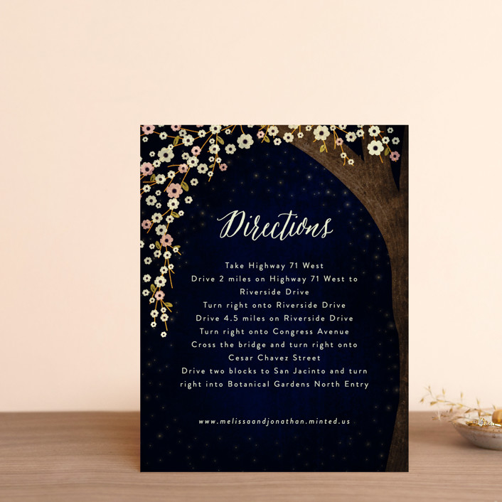 """Outside"" - Rustic Direction Cards in Navy by Rebecca Bowen."
