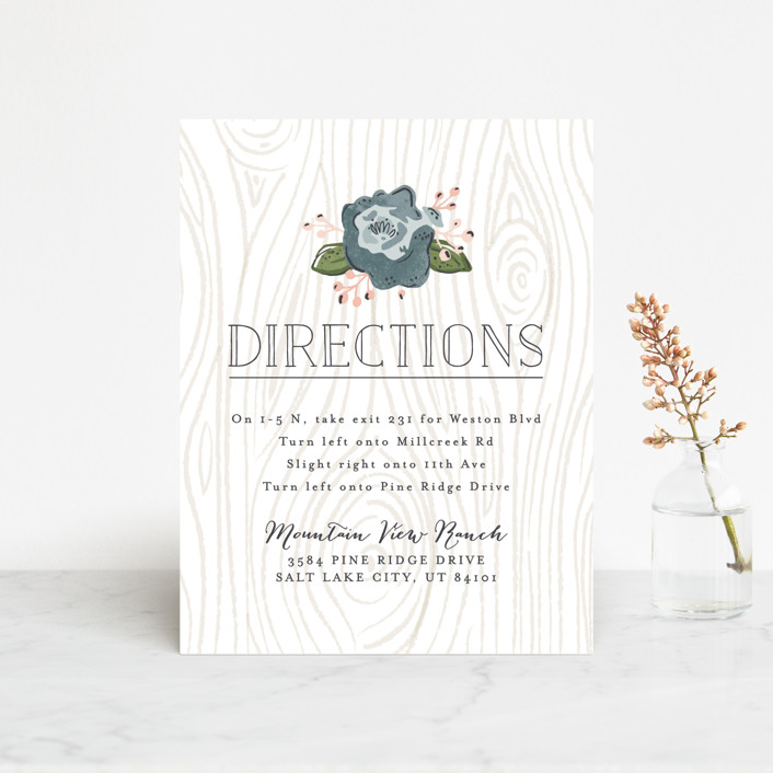 """Rustic Wooded Romance"" - Rustic Direction Cards in Bluebell by Pistols."