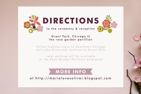 Ornamental Floral Direction Cards