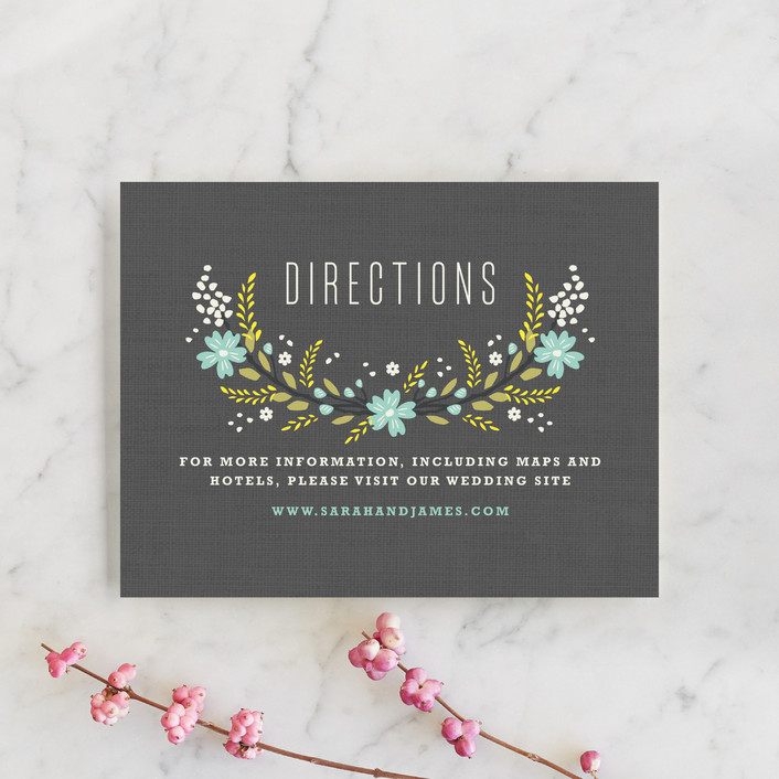"""""""Botanical Blooms"""" - Floral & Botanical, Rustic Direction Cards in Mint by Kristie Kern."""
