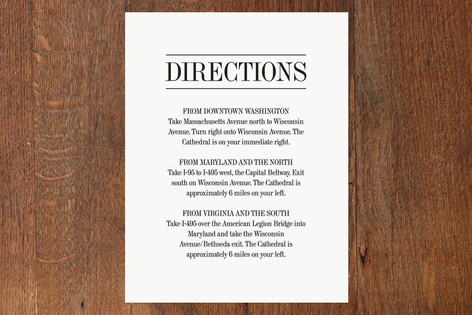 Classically Stacked Direction Cards