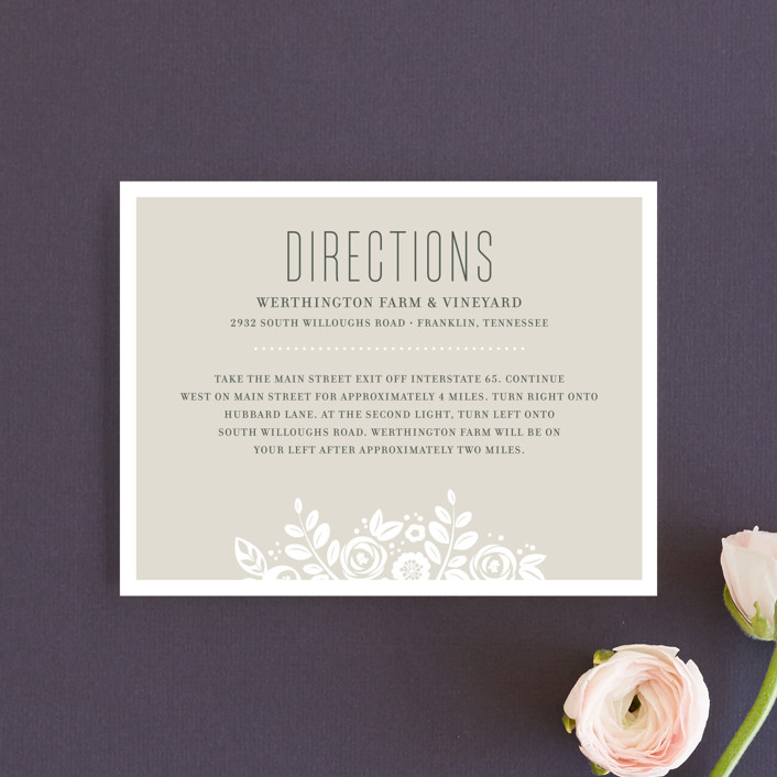 """""""White Shadows"""" - Floral & Botanical, Elegant Direction Cards in Champagne by Jessica Williams."""