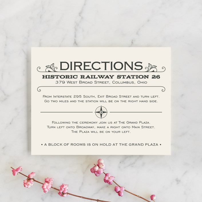 """A Blessed Union"" - Vintage, Bold typographic Direction Cards in Cream by GeekInk Design."