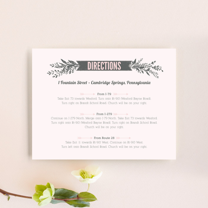 """""""Woodland Romance"""" - Rustic Direction Cards in Blush by cadence paige design."""