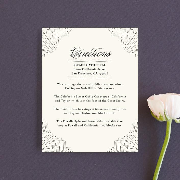 """""""Splendorous"""" - Classical, Elegant Direction Cards in Cream by Design Lotus."""