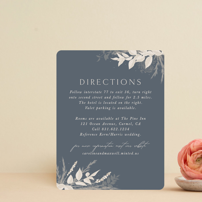 """""""Winter White Botanicals"""" - Bohemian Direction Cards in Slate by Erin Deegan."""