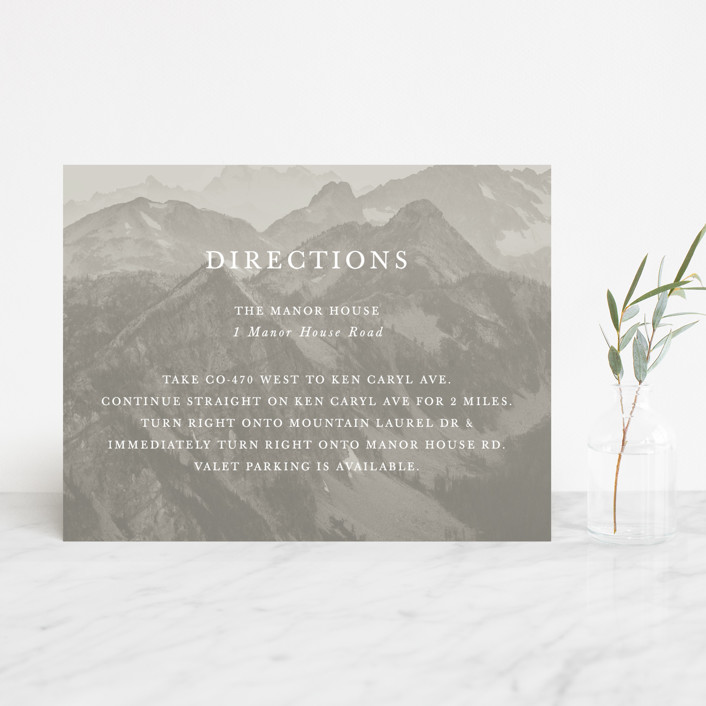 """""""Modern Mountain"""" - Rustic Direction Cards in Fog by Gratia Design Co.."""