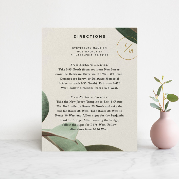 """Powder Room Florals"" - Direction Cards in Cream by Ariel Rutland."