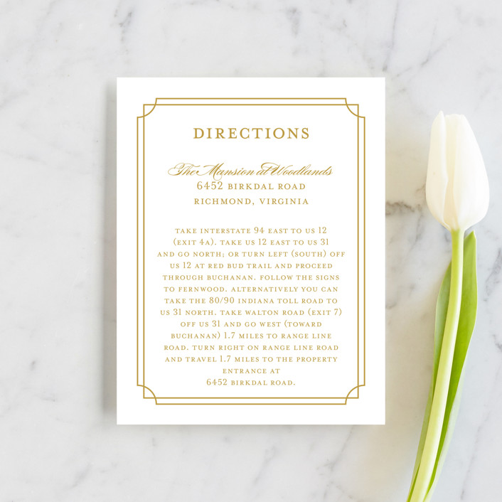 """""""Luxe Border"""" - Formal, Classical Direction Cards in Gold by Sarah Brown."""