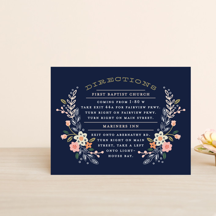 """""""Wildflower Crest"""" - Rustic Direction Cards in Navy by Alethea and Ruth."""