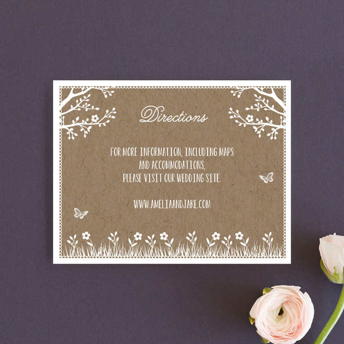 """Kraft Woodland Tree"" - Rustic, Funny Direction Cards in Buckwheat by Coco and Ellie Design."