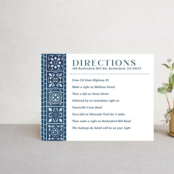 """Mediterranean Tiles"" - Direction Cards in Ocean by GeekInk Design."