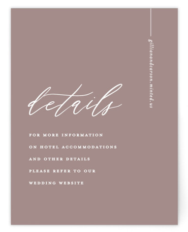 This is a classic and formal, simple and minimalist, pink Direction Cards by Chryssi Tsoupanarias called Villa with Standard printing on Signature in Card Flat Card format. A modern and playful typographic layout emphasizing the names of the couple.
