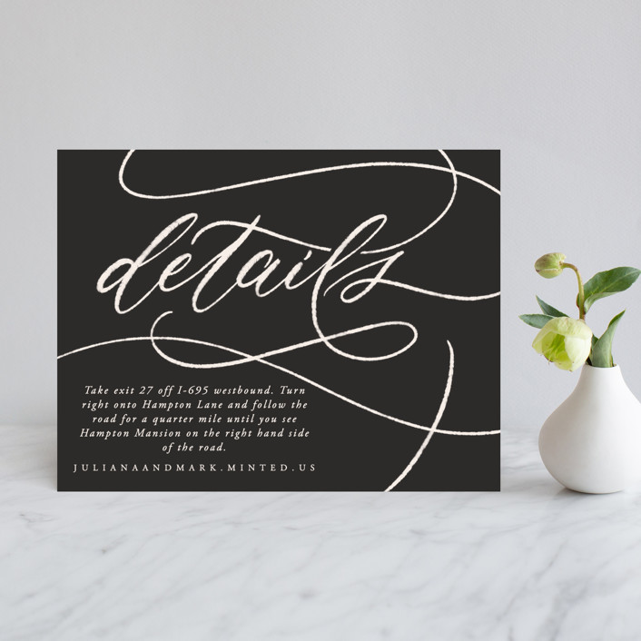"""Fountain Pen"" - Direction Cards in Creme by Erin L. Wilson."