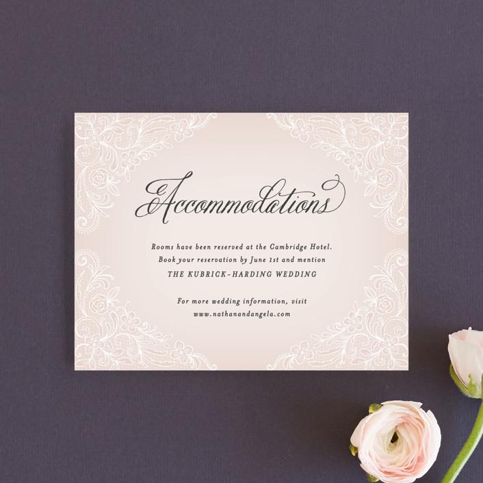 """Elegant Lace"" - Elegant, Vintage Direction Cards in Blush by Hooray Creative."