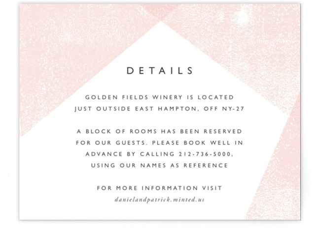 This is a painterly, pink Direction Cards by itsjensworld called Elegantly Minimal with Standard printing on Signature in Card Flat Card format. An elegant, minimal, gender neutral wedding invitation featuring an overlapping, geometric ink textured background (hand printed by me), ...