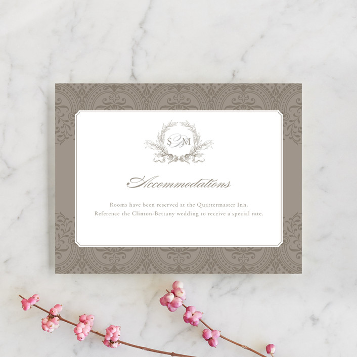"""Formalities"" - Elegant, Classical Direction Cards in Warm grey by Milkmaid Press."