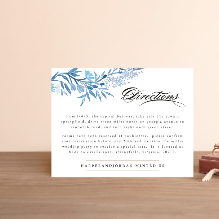 """""""Poetic Blue"""" - Floral & Botanical Direction Cards in Sky by Qing Ji."""