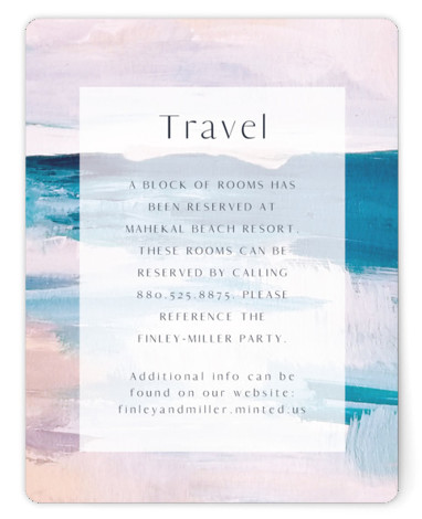 This is a illustrative, painterly, blue Direction Cards by Nicole Walsh called Sand & Sun with Standard printing on Signature in Card Flat Card format. A classy wedding invitation with a hand painted beach background