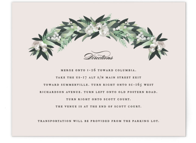This is a botanical, green, pink Direction Cards by Jennifer Postorino called Wall Flower with Standard printing on Signature in Card Flat Card format. This beautiful wedding invitation features hand drawn garland arched over elegant type.