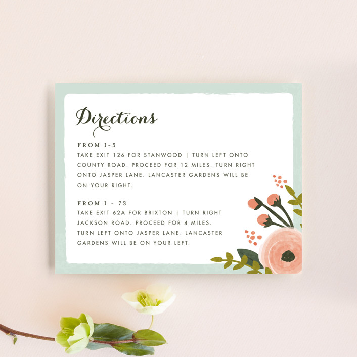 """""""English Floral Garden"""" - Floral & Botanical Direction Cards in Peony by Karidy Walker."""