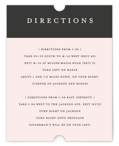 This is a simple and minimalist, grey, pink Direction Cards by Snow and Ivy called Elemental with Standard printing on Signature in Card Flat Card format. Modern and clean wedding invitation design with classic typography.