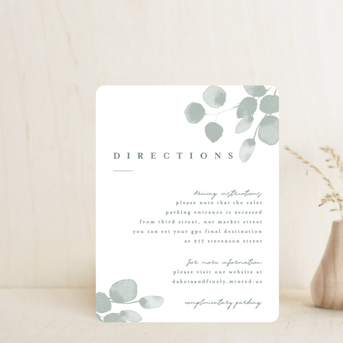 """""""Silver Dollar Eucalyptus"""" - Direction Cards in Silver Dollar by Shannon Chen."""