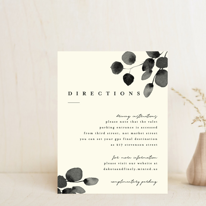 """""""Silver Dollar Eucalyptus"""" - Direction Cards in Ivory by Four Wet Feet Studio."""