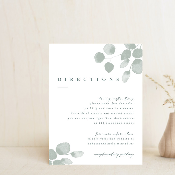 """Silver Dollar Eucalyptus"" - Direction Cards in Silver Dollar by Four Wet Feet Studio."