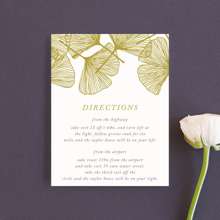 """Falling Ginkgo"" - Bohemian Direction Cards in Mustard by Katharine Watson."