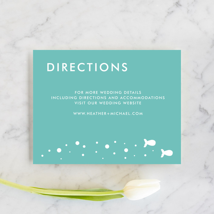 """Only Fish for Me"" - Whimsical & Funny Direction Cards in Tropical Sea by Ling Wang."