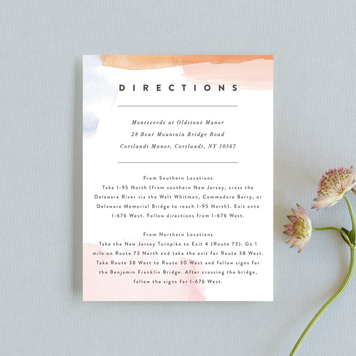 """Watercolor Wisp"" - Modern Direction Cards in Blush by Ariel Rutland."