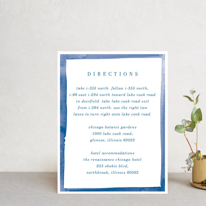 """Watercolor Edged Border"" - Direction Cards in Blue Bell by Baumbirdy."