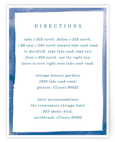 This is a blue, colorful, white Direction Cards by Baumbirdy called Watercolor Edged Border with Standard printing on Signature in Card Flat Card format. This save the date features a simple design to help showcase your beautiful photo