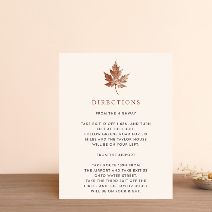 """Leaf Print"" - Rustic Direction Cards in Rust by Katharine Watson."