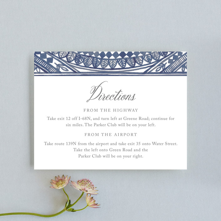 """Ornate Watercolor Frame"" - Bohemian Direction Cards in Lapis by Katharine Watson."
