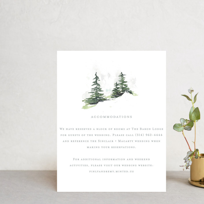 """On the Slopes"" - Rustic Direction Cards in Fog by Mere Paper."