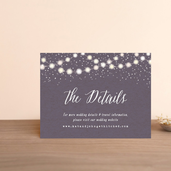 """""""Garden Lights"""" - Rustic Direction Cards in Plum by Hooray Creative."""