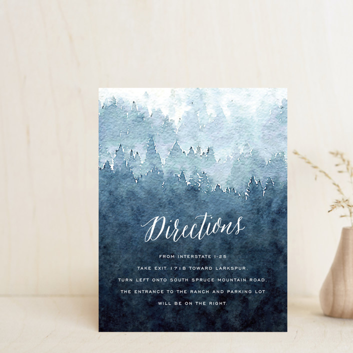 """""""Mountain Retreat"""" - Rustic Direction Cards in Evening Sky by Design Lotus."""