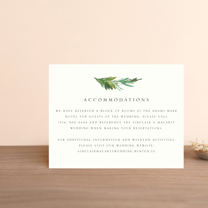 """Simple Pine Branches"" - Rustic, Simple Direction Cards in Vanilla by Mere Paper."