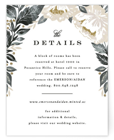 This is a botanical, painterly, beige, black, colorful Direction Cards by Alethea and Ruth called Peony Floral Frame with Standard printing on Signature in Card Flat Card format. This wedding invite features peony blooms, leaves and berries.