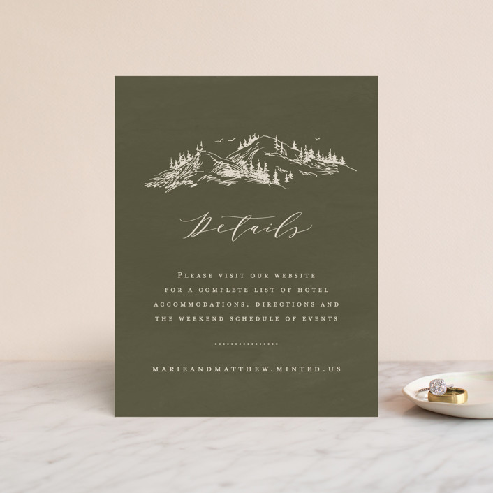 """""""into the mountains"""" - Rustic Direction Cards in Olive by Helen Halik."""