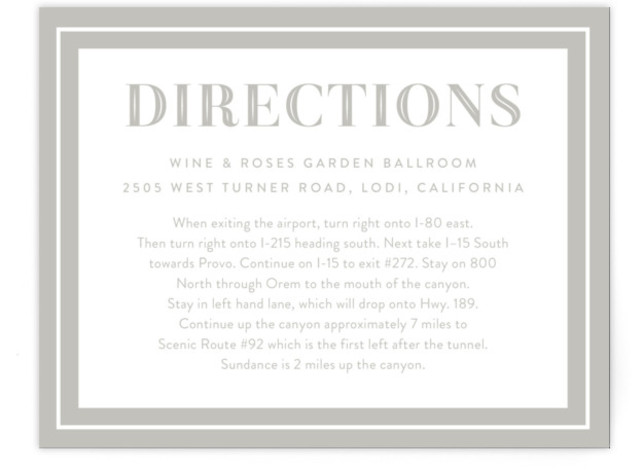 This is a bold and typographic, classic and formal, simple and minimalist, grey Direction Cards by Jill Means called Ribbon Border with Standard printing on Signature in Card Flat Card format. Classic Typography with a Bold Ribbon border with lots ...