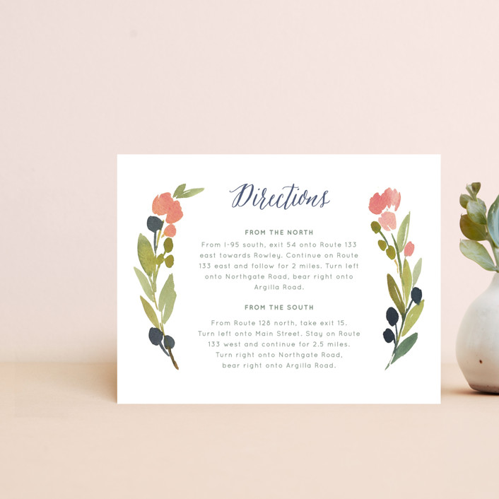 """""""Watercolor Wreath"""" - Direction Cards in Grapefruit by Yao Cheng Design."""