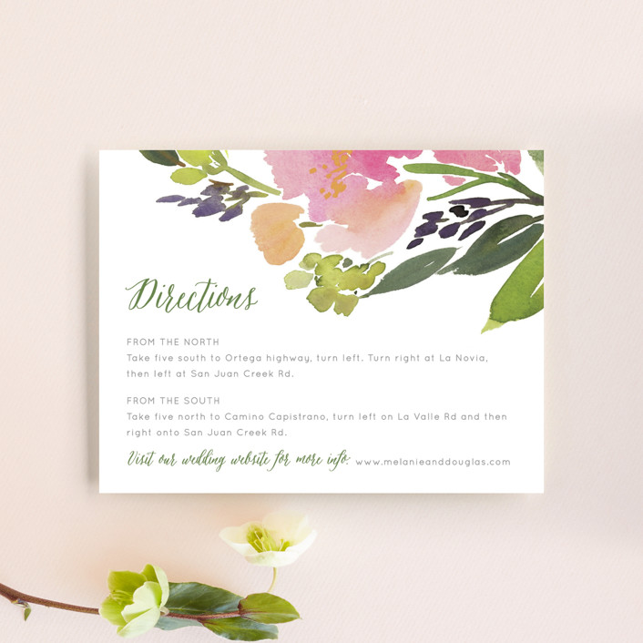 """""""Watercolor Floral"""" - Direction Cards in Olive by Yao Cheng Design."""
