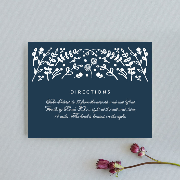 """""""Floral Frame Square"""" - Direction Cards in Navy by Lori Wemple."""