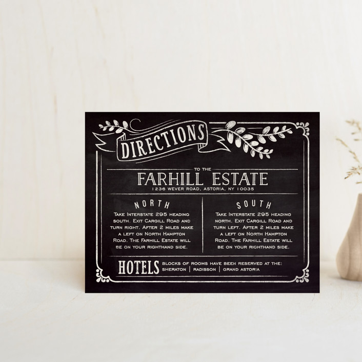 """Slated Forever"" - Bold typographic, Vintage Direction Cards in Chalkboard by GeekInk Design."