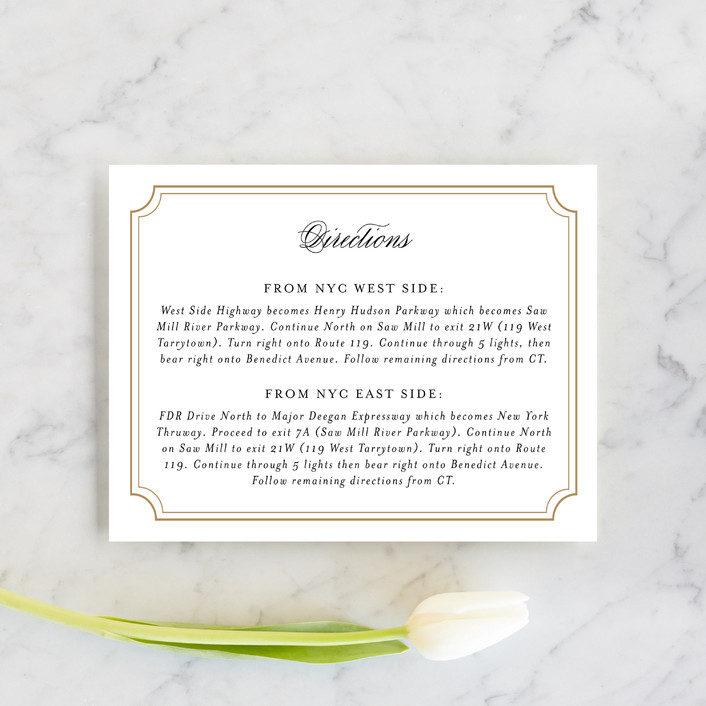 """""""Classy Type"""" - Formal, Elegant Direction Cards in Golden by Kimberly FitzSimons."""
