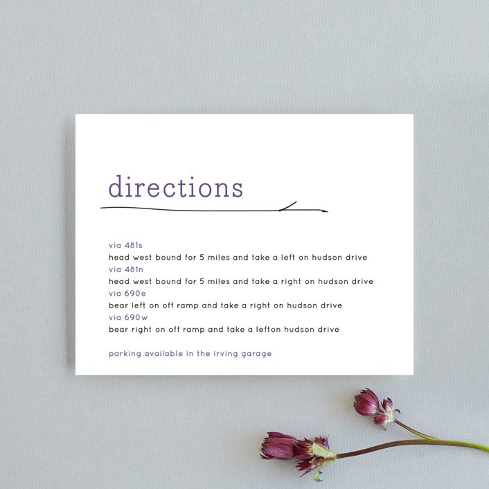 """Birds of a Feather"" - Whimsical & Funny Direction Cards in Plum by R studio."